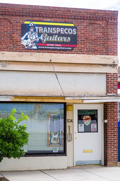 Entrance to Transpecos Guitars in Alpine, TX