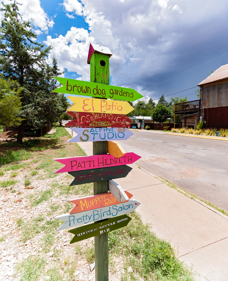 Colorful signpost in Alpine, TX