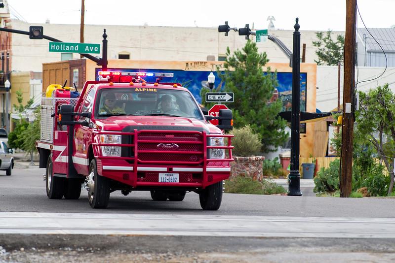 Volunteer fire department in action.