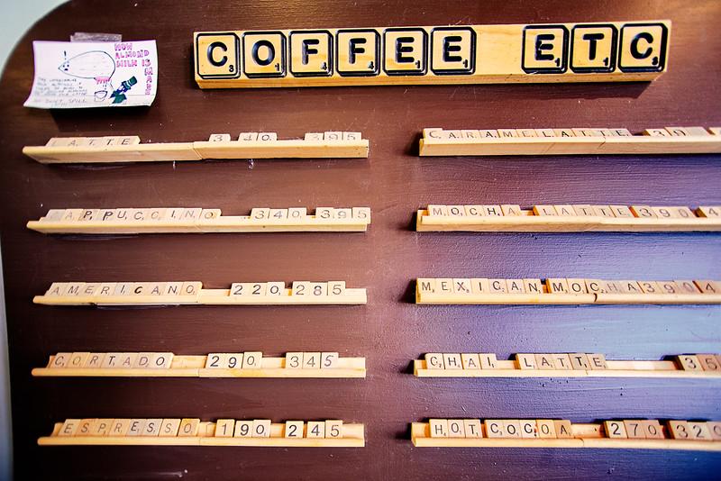 Scabble Board menu at the Plaine Coffe House in Alpine, TX