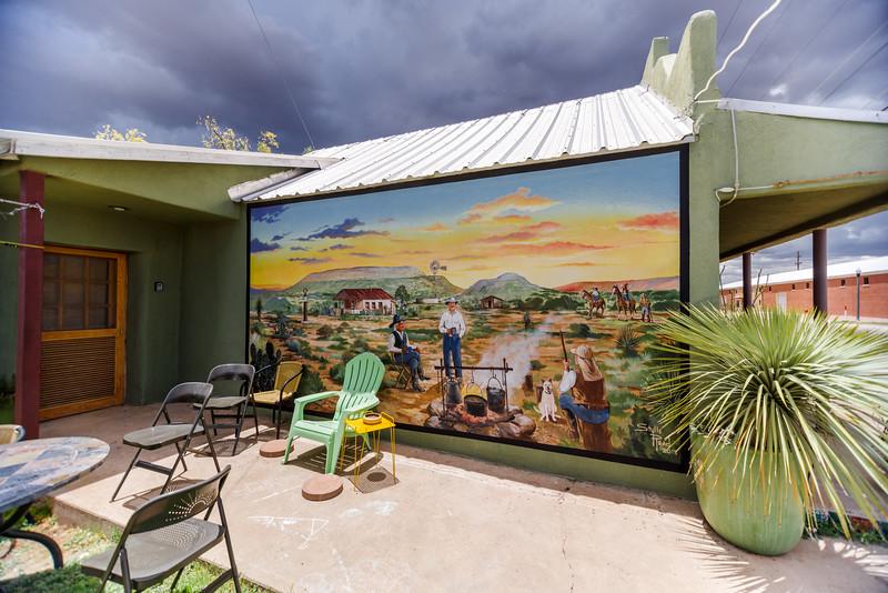 Bottle House mural in Alpine, TX
