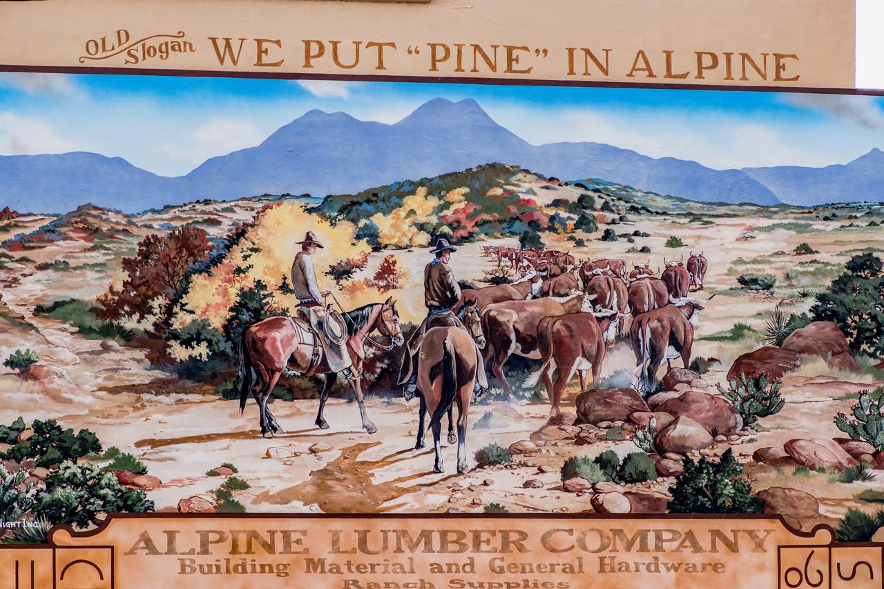 Alpine Lumber Comapny mural.