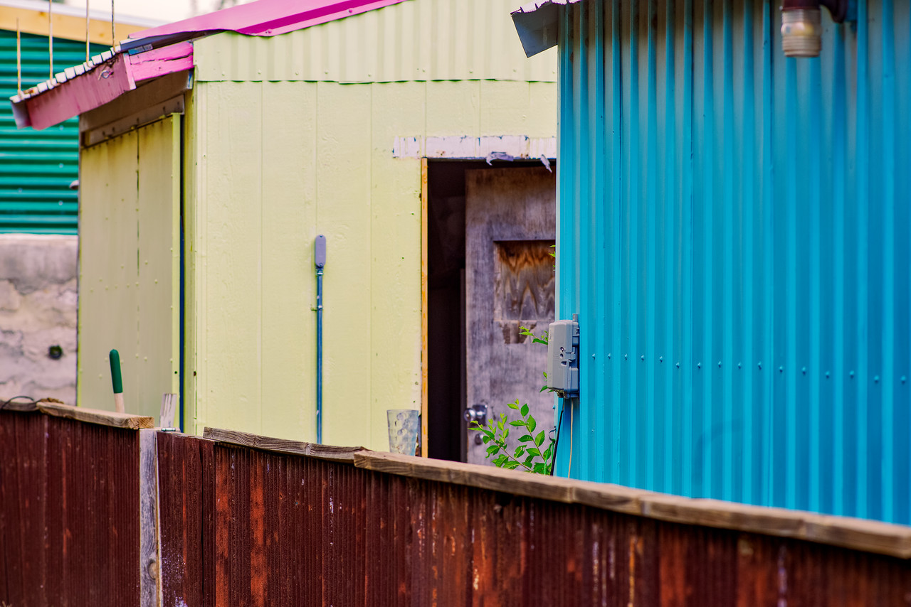 Colorful, backyard utility buildings in Alpine, TX