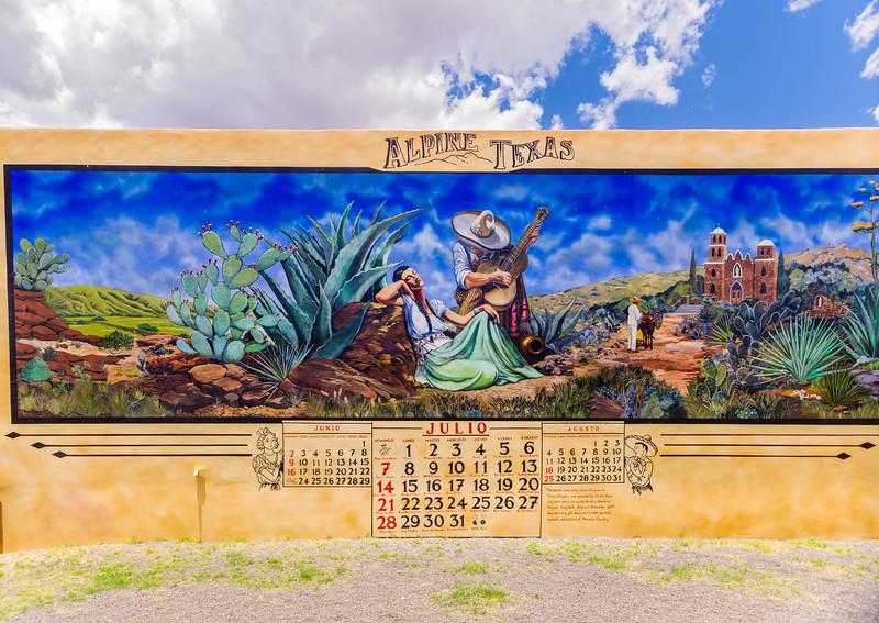 Calendar mural in Alpine, TX.