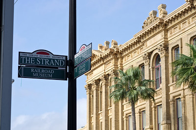 The Strand on Galveston Island, Texas is a popular, downtown location with lots of historic buildings, shops, restaurants, etc.