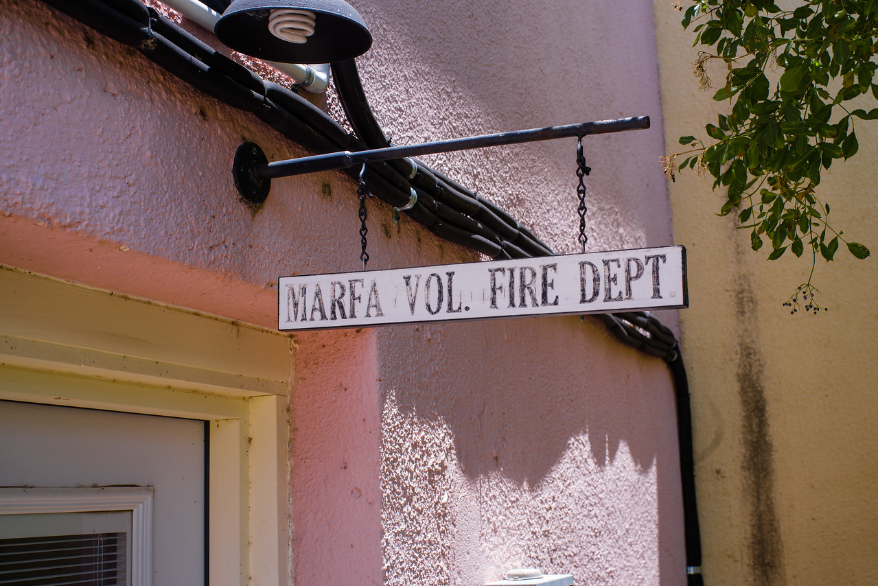 Entry way sign for the Marfa Volunteer Fire Department.