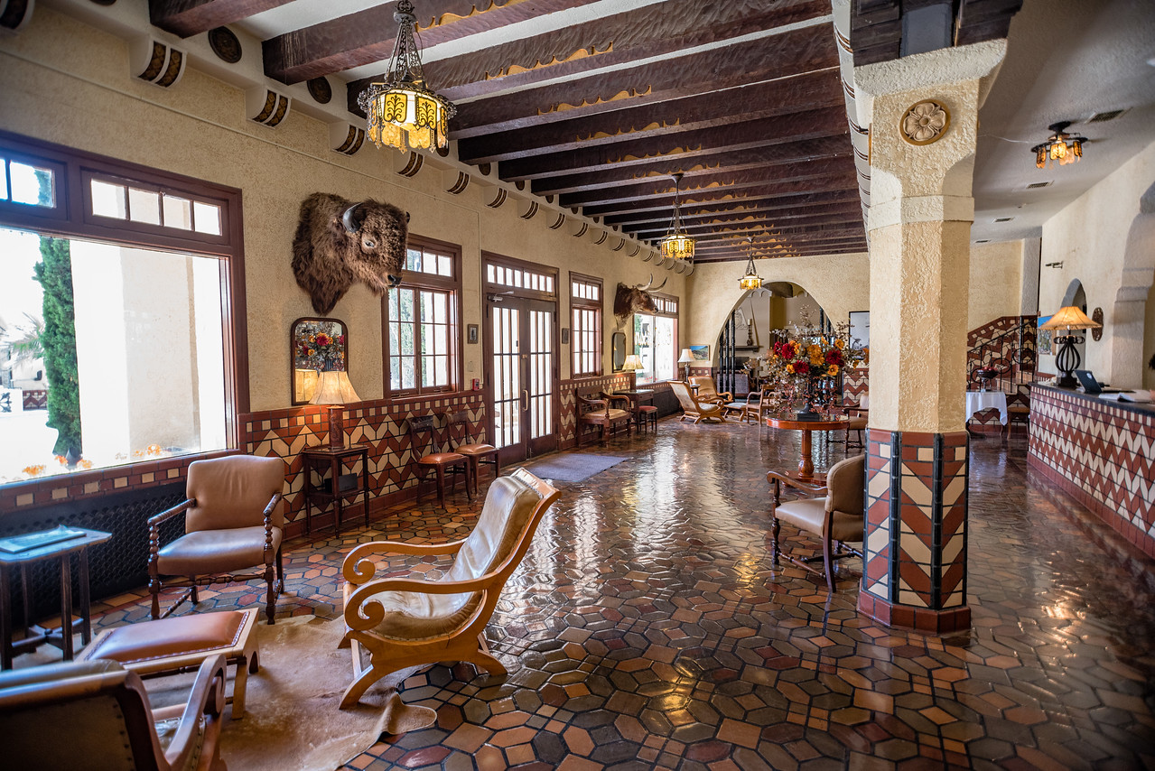 Inside lobby of the historic Hotel Paisano in Marfa, TX.