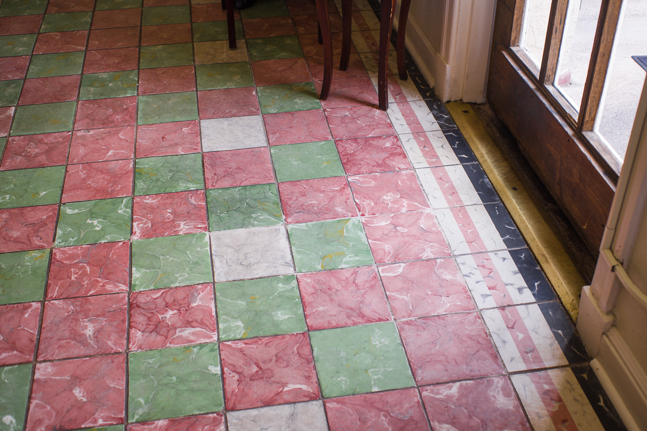 Fine, old floor tile in Jett's Grill, a part of Hotel Paisano in Marfa, TX.
