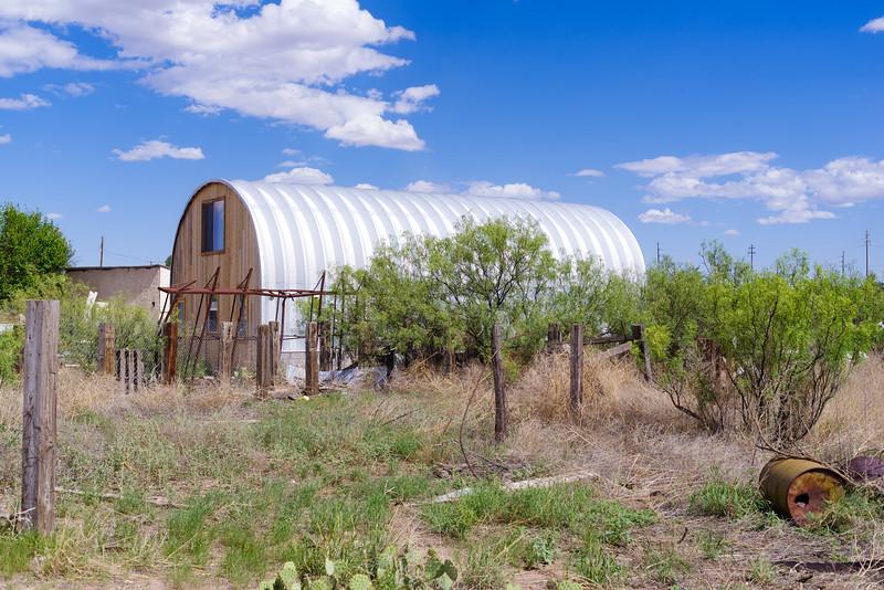 Interesting, metal building and yard in Marfa, TX.