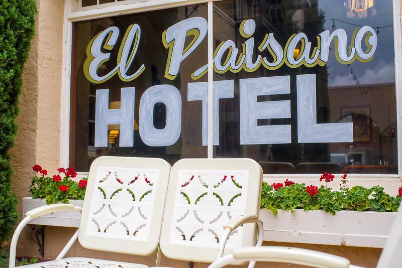 El Paisano Hotel patio in Marfa, TX.