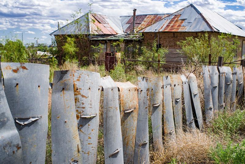 Unusual metal fencing in Marfa, TX.