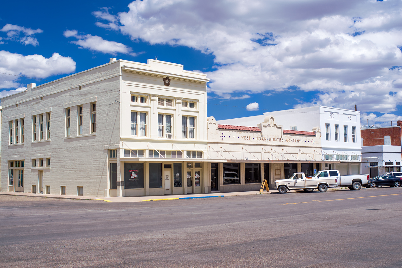 Wide streets in downtown Marfa, TX.