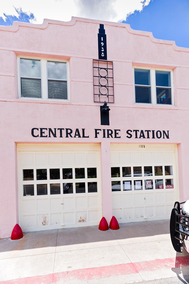 Pink, red, and art decco Fire Station in Marfa, TX.