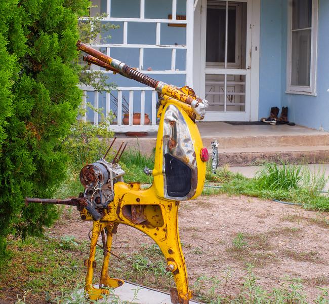 Creative sculpture decorates a yard in Marfa, TX.