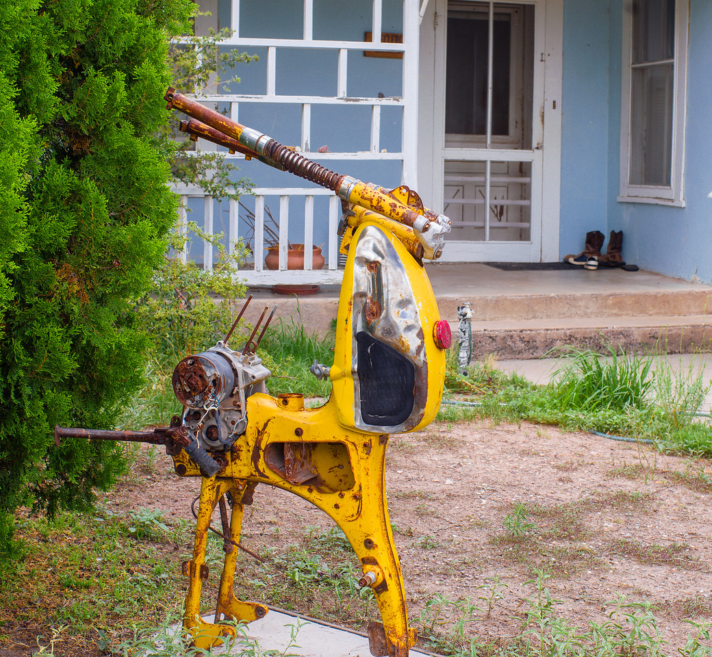 Creative sculpture decorates a yard in Marfa, TX.