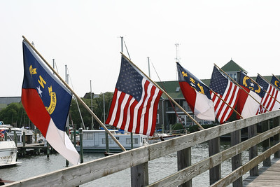 North Carolina and US Flags