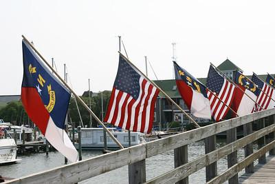 North Carolina and US Flags