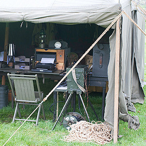 The war correspondent's work area