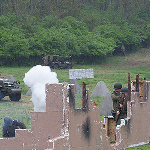 Mortar fire from a defensive position.