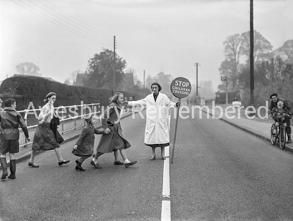 Mrs Kirklan, lollypop lady at Aston Clinton, Nov 13 1956