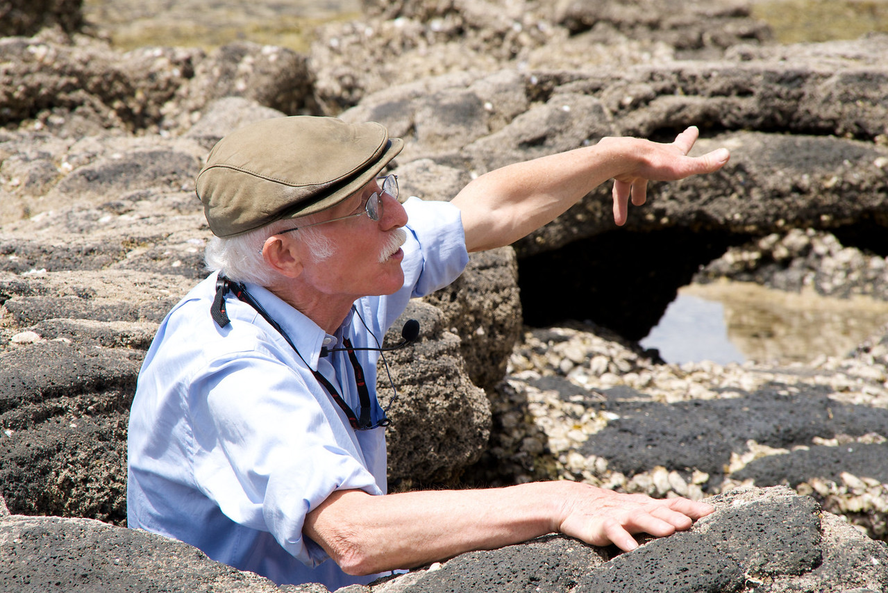 Dr  John Walsby Showing Us The Fossil Formations