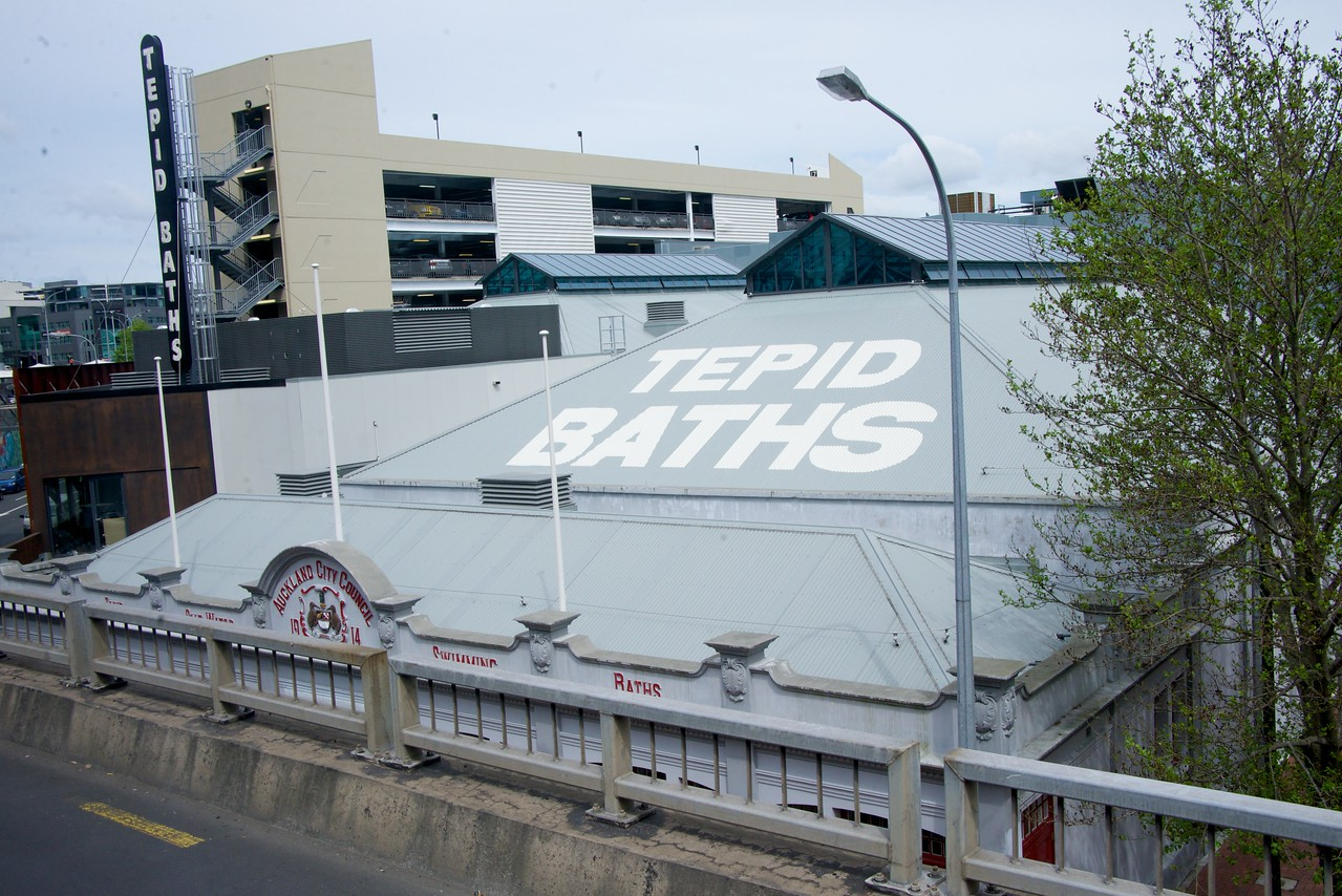 Bath House in Downtown Auckland (taken from bus)
