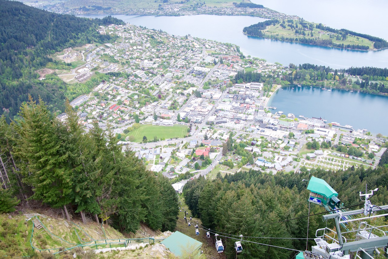 View of Downtown Queenstown From Top of Skyline