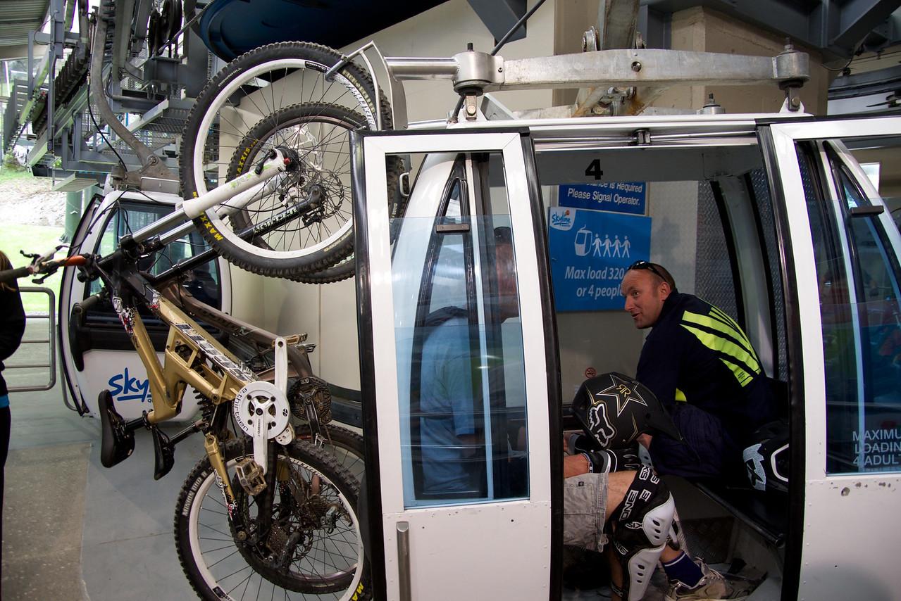 Bikers Taking Bikes Up To The Top of Skyline-Bike Train Down