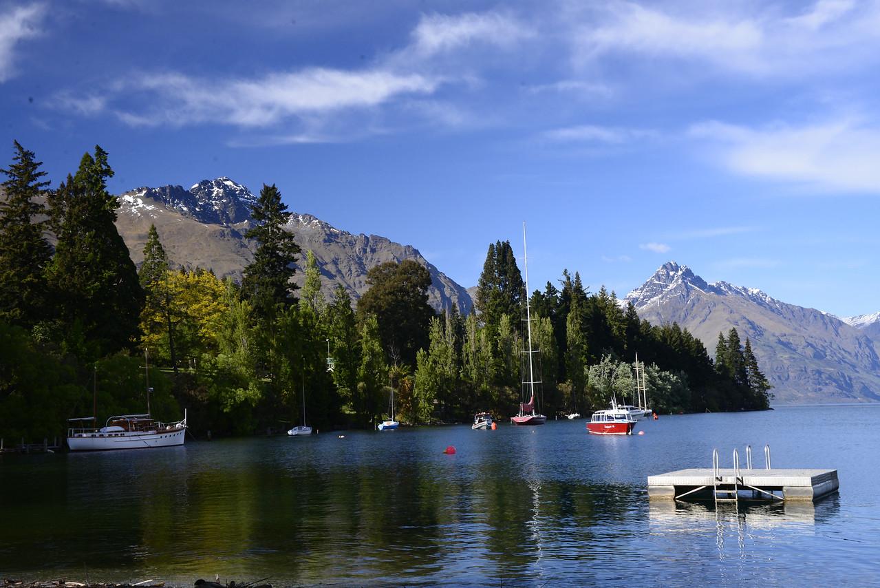 Lake Wakatipu, a long thin Z-shaped lake formed by glacial processes