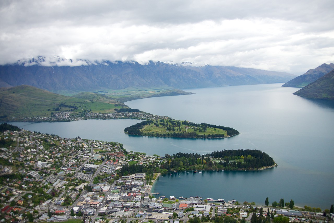 Lake Wakatipu and Queenstown Bay from Top of Skyline