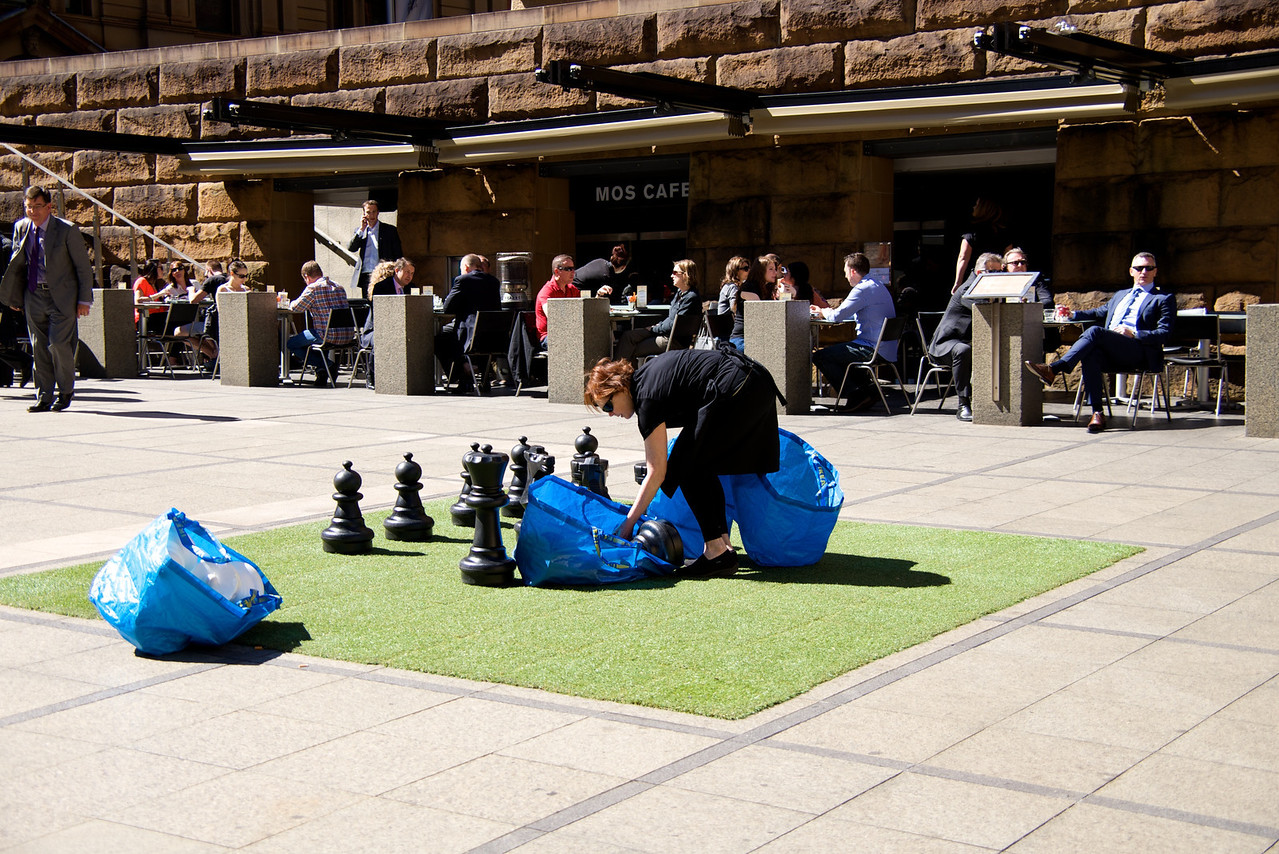 Setting Up Chess Areas Outside Museum of Sydney