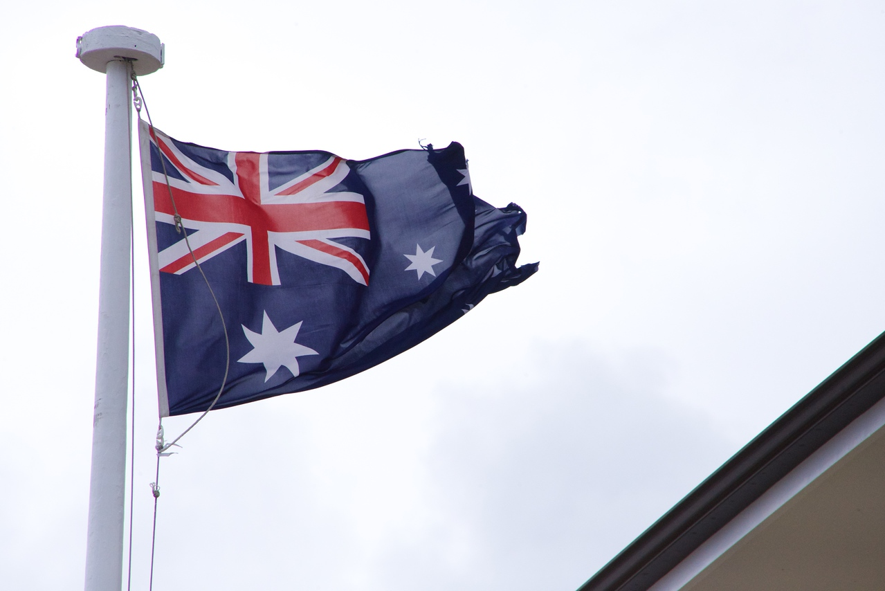 Australian Flag With Union Jack and A Star for Each State