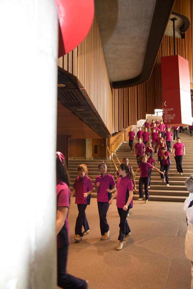 Part of The Australian Girls Choir Going To Rehearsal