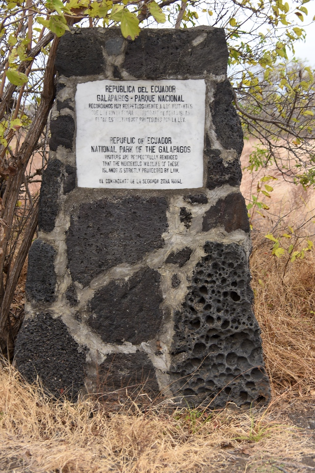 Example of monuments on every island explaining that this is a protected area.