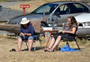 """""""Just chillin' at the beach with our parrot"""" Picnickers at County Park, San Juan Island"""