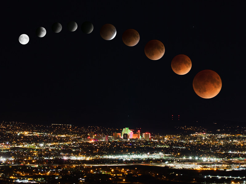 Super Blue Blood Moon Over Downtown Reno, NV