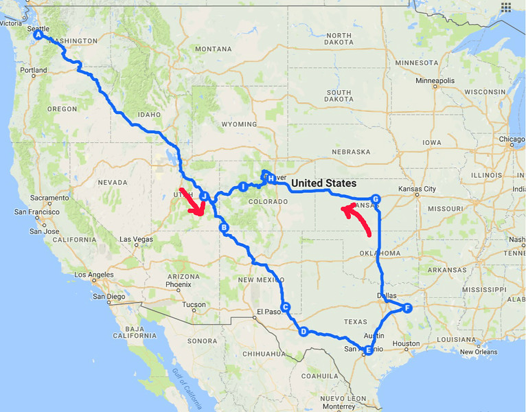 The route I drove on this trip - about 5000 miles!