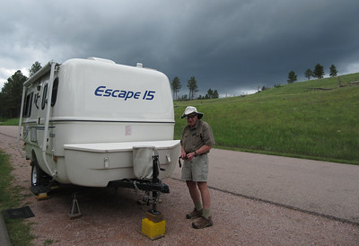 So we arrived at Wind Cave Nat'l Park around noon time and found an OK campsite.  Most of the sites are designed for tent camping and not super level.  Skies are threatening later in the afternoon.