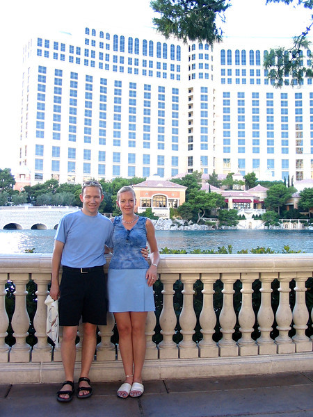There we are in front of the Fountains at Bellagio... make sure to drop by here for the free water shows when in Vegas!