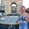 There's Nancy enjoying a beverage in the hot desert sun in Las Vegas... at Paris... another confusing statement. :-)