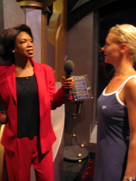 """There's Nancy giving Oprah a few minutes of her valuable time. :-) It's amazing how realistic the statues at """"Madame Tussauds"""" wax museum are!"""