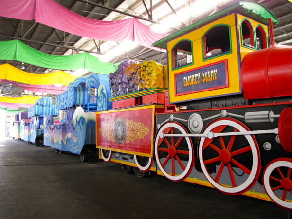 """There's one of the many floats that """"Mardi Gras World"""" makes for the riders and characters... can you imagine, last year Mardi Gras had 54 parades take place in 12 days... that's a lot of fun!! :-)"""