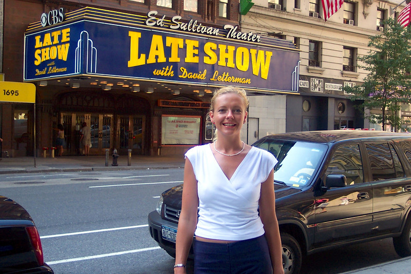 "There's Nancy hanging out in front of the Ed Sullivan Theater where ""The Late Show with David Letterman"" is taped... we love Dave so this was pretty cool to see! :-)"