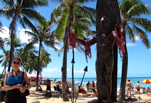 There's Nancy (and the Duke) on Waikiki Beach.