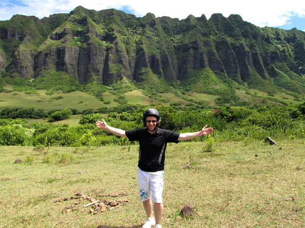 Shawn's definitely excited to be taking in the surreal views all around Kualoa Ranch! :-)