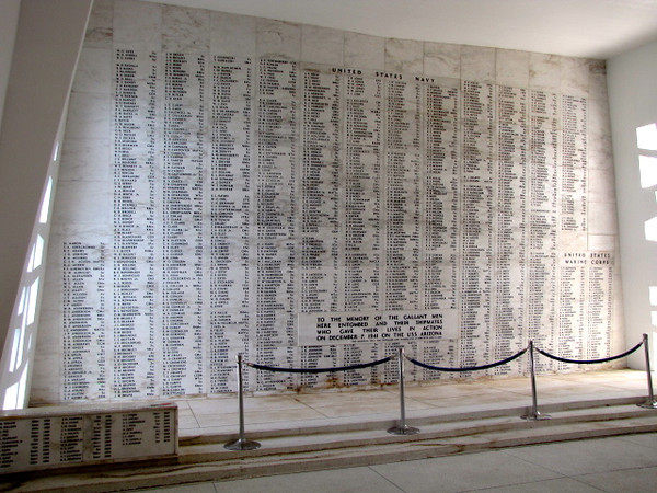 Once inside the Arizona it lists all those lost during the attack