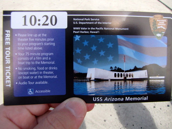 """Today we visited infamous Pearl Harbor on the Island of Oahu in Hawaii... there's the ticket to prove it! :-) Want to learn some facts about Pearl Harbor... if so, click here: <a href=""""http://nancyandshawnpower.com/facts-pictures-pearl-harbor-today/"""">http://nancyandshawnpower.com/facts-pictures-pearl-harbor-today/</a>"""