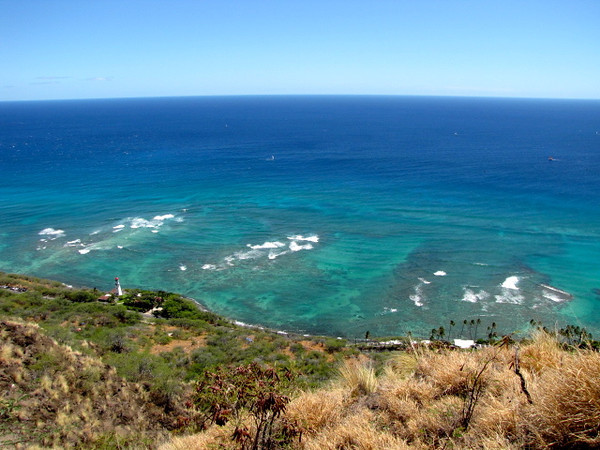 The Ocean views while hiking the Diamond Head crater were pretty stunning... and check out that crystal clear water!