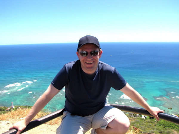 There's Shawn enjoying the views at the top of Diamond Head.