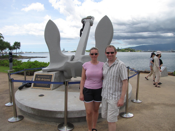 Here we are next to the restored anchor of the Arizona... 19,000 pounds and it was blown aways away from the ship that day... incredible!